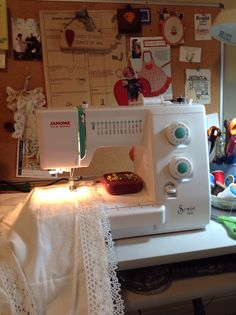 Making flannel pillowcase with cotton lace and white satin ribbon trim on my new Janome!  Came out beautiful, cozy and soft.