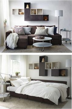 FRIHETEN corner sofa bed has an interchangeable chaise lounge that you can place on the left or right, and switch it whenever you like. The lid of the storage compartment stays open, so you can safely and easily take things in and out.