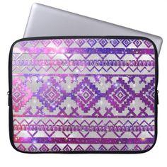 Aztec Tribal Diamond Pattern Pink Nebula Galaxy Laptop Sleeve