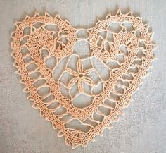 BUY 2 GET 3 Brugges-lace heart crochet by Handicraftshed on Etsy