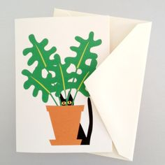 Note Cards Cat In Plant 8pc, $13.50, now featured on Fab. [R. Nichols]