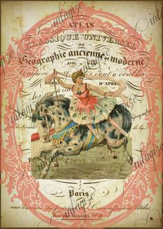 Instant Art Original Print French Circus Girl on Trick Horse Ready for Framing, Quilt Making, Invitations, Etc-Digital Download. $3.25, via Etsy.