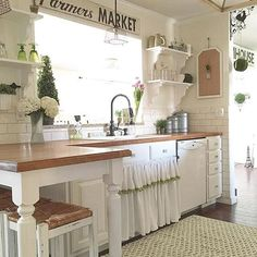 Love the sink skirt, the subway tile mixed with the beadboard....