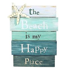 """The Beach Is My Happy Place - Plank Board Sign with Starfish and Rhinestone Accents 12"""" X 9"""", http://www.amazon.com/dp/B00LABJ6L2/ref=cm_sw_r_pi_awdm_ELLYvb04EAD46"""