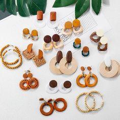 Diy Clay Earrings, Wooden Earrings, Earrings Handmade, Handmade Jewelry, Diamond Earrings, Jewellery Earrings, Tiny Earrings, Diamond Stud, Pearl Diamond