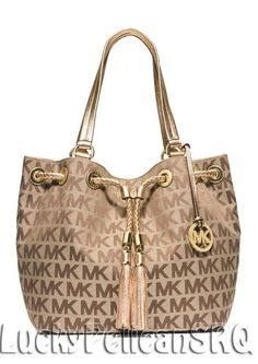 Michael Kors JS MK Signature Canvas Large Gathered Tote Beige Ebony Gold NWT #MichaelKors #TotesShoppers