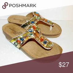 New MOUNTAIN SOLE LEATHER BEADED TONG SANDALS SZ.6 New MOUNTAIN SOLE  slip on sandals.Sequins, beads, jems make them stand out and fun to wear. Beautiful combination of colors for the summer. Light and comfortable. MOUNTAIN SOLE Shoes Sandals