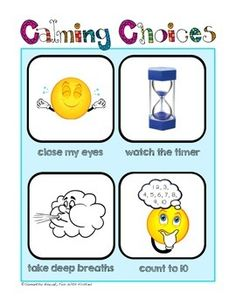 Calming Corner Posters: reference for a time out, take 5,