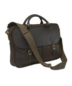 Barbour Wax and Leather Briefcase - Olive Barbour Bags de856230ef930