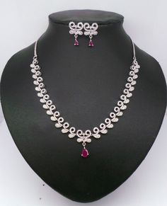 Simulated Cubic Zirconia Designer Ruby Necklace Earring SET DAJ 243 0N | eBay