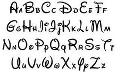 Mickey Mouse font example aid for handwriting text