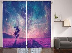 Galaxy And Lonely Tree Curtains By Ambesonne, Nasa Furnished Elements Artwork Print, Window Drapes 2 Panel Set For Living Room Bedroom, 108 W X 84 L Inches