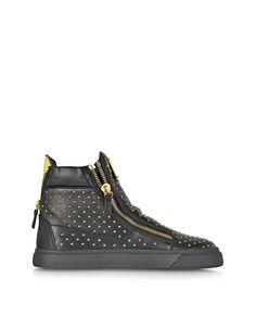 Giuseppe Zanotti Black Leather High Top Studded Sneaker  at FORZIERI