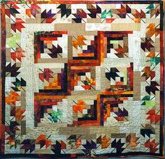 Jennifer Cullen's Fall Foliage Spectacular, a Log Cabin quilt variation made from the pattern in Cookies 'n' Quilts by Judy Martin.