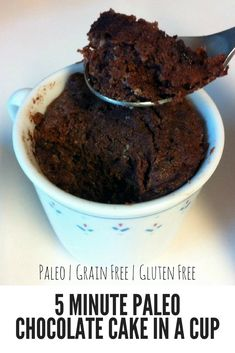 A recipe for how to make a cute dessert in less than 5 minutes: How to make Paleo Chocolate Cake In A Cup. A recipe for how to make a cute dessert in less than 5 minutes: How to make Paleo Chocolate Cake In A Cup. 5 Minute Desserts, Cute Desserts, Healthy Desserts, Paleo Recipes, Real Food Recipes, Yummy Food, Paleo Dessert, Dessert Recipes, Paleo Mug Cake