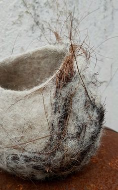 felted vessel in white with gray accents and natural plant details Wet Felting Projects, Needle Felting Tutorials, Textile Sculpture, Textile Fiber Art, Fibre And Fabric, Free Motion Embroidery, Felt Decorations, Nuno Felting, Handmade Felt