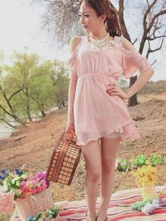 cute pink dress with lace slip details, cute outfit, K Fashion ...