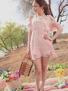 cute pink dress, cute outfit, K Fashion,  (≧∇≦)/ casual, cute outfit, Cute Korean Fashion, korea, Korean, seoul, kfashion, kpop fashion, girl's wear, ladies' wear, pretty, kawaii
