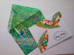 Too many hobbies!  using painted deli wrap paper to make beautiful cards and envelopes