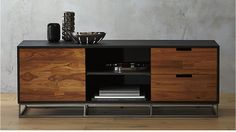 congo media credenza CB2- I like the two-tone wood interplay, darker black but with some wood grain to tie it back in. Would like this piece and a coffee table to speak to the overall aesthetic.