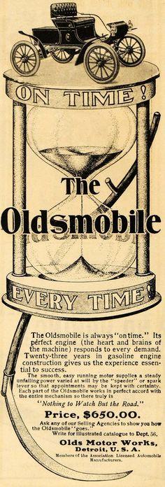 1903 Ad Olds Motor Works Antique Oldsmobile Car Auto Hourglass Detroit ARG1