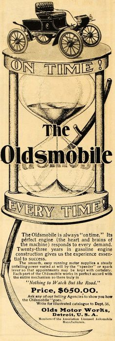 1903 Ad Olds Motor Works Antique Oldsmobile Car Auto Hourglass Detroit ARG1 - Period Paper