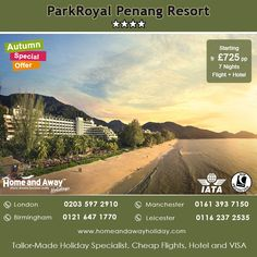 Embrace the sun, sand and sea at this idyllic #Penang #Resort Which offers the ultimate escape from the bustle of the city as its  Located along the beautiful shorelines of Penang. Book your holidays to Penang in this hotel only with Home and Away #Holidays with Price Fr £725 pp for 7 Nights with Flight.