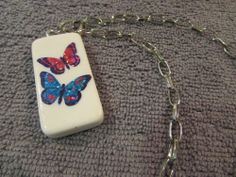 "Glitter Shiny Butterflies Domino Necklace Jewelry On A Silver Chain 18"" #Handmade #Chain"