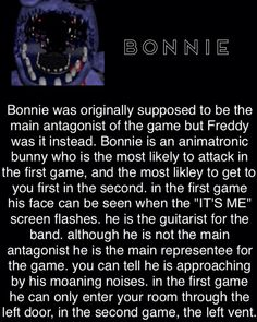 *Right vent. I am glad someone decided to do a fact tribute for Bonnie. Five Nights At Freddy's, Fnaf Theories, Animatronic Fnaf, Freddy 2, Scary Games, Fnaf Characters, Fnaf Sister Location, Fnaf 1, Freddy Fazbear