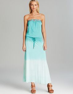 DEBBIE KATZ Hopi Beaded Jersey Ombre Maxi Swim Cover Up