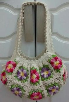 Crotchet Bags, Crochet Tote, Crochet Handbags, Crochet Purses, Chrochet, Baby Dress Patterns, Crochet Patterns, Crochet Garland, Handmade Handbags