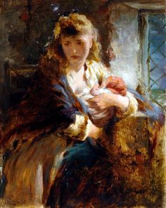 George Elgar Hicks - Mother and baby Breastfeeding Art, Pre Raphaelite, Wow Art, Oil Painting Reproductions, Victorian Art, Art Uk, Mother And Baby, Woman Painting, Pretty Art