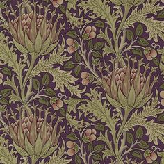Artichoke Fabric A beautiful woven fabric with a design taken from a 1898 J.H. Dearle wallpaper, featuring swirling tendrils in a symmetrical artichoke pattern, shown in aubergine and olive green.