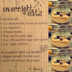 My overnight oats recipe. great on the go breakfast for people who are trying to eat clean and don't have the time to cook in the mornings!