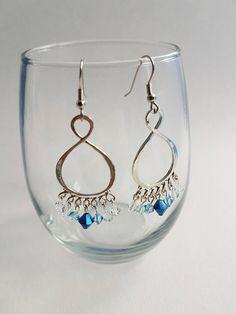 Blue Swarovski Crystal Dangle Earrings  Etsy - sunnysofa