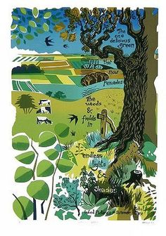 Carry Akroyd: Delicious Green, for John Clare English Poets, Richard Scarry, Eyes On The Prize, Birds Eye View, Illustration Art, Illustrations, Landscape Art, Impressionism, Fields
