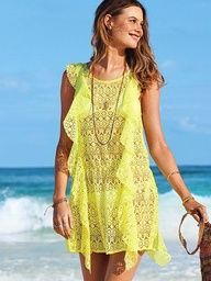 Beach Sexy Ruffled Crochet Cover-up