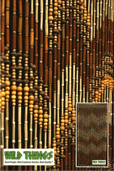 Wooden Beaded Curtain. Made Out Of Bamboo, Wood And Peach Pits.