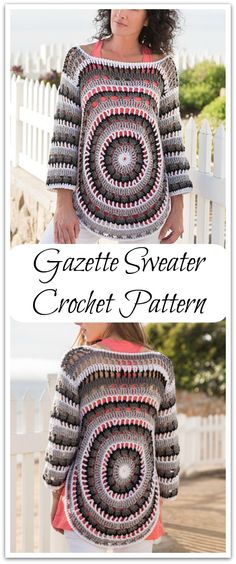 Flattering to many body types, this openwork circular sweater can easily be dressed up or down for multiple seasons. Instant PDF download. #ad #affiliate #crochet  #pattern