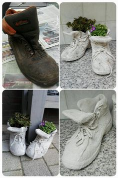 22 idee tutorial per creare delle fioriere da far invidia a tutti. Concrete draping tutorial tests of 8 kinds of different fabrics amp fibres for portland cement dipping t Hand Planters, Diy Concrete Planters, Cement Art, Concrete Crafts, Concrete Projects, Concrete Garden, Garden Planters, Concrete Filler, Concrete Furniture