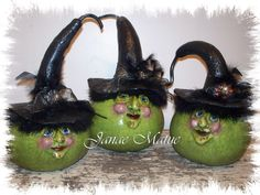 Sculpted Witch Gourds that I just finished for Swiss Days, Midway, Utah, August 30th and 31st, 2013.