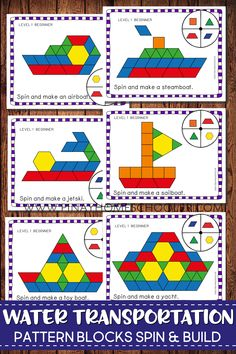 Play Pattern Blocks Spin and Build to create water transportation. Puzzle pictures included are: airboat boat canoe cruise ship jetski sailboat steamboat submarine yacht and toy boat. Transportation Preschool Activities, Transportation Unit, Preschool Themes, Preschool Kindergarten, Preschool Crafts, Learning Activities, Water Theme Preschool, Preschool Pictures, Boat Theme