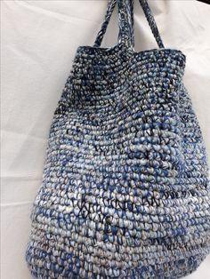 Crochet Symbols, Yarn Bag, Recycled Yarn, Yarn Thread, Crochet Instructions, Craft Bags, Handmade Handbags, Crochet Handbags, Knitted Bags