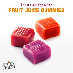 Juicy Juice - Homemade Fruit Juice Gummies Are you ready for some gummies that aren't full of added sugars? Learn how to make a batch of these yummy snacks for your kids using the goodness of Juicy Juice. Homemade Gummy Bears, Homemade Gummies, Homemade Sweets, Homemade Candies, Homemade Candy Recipes, Homemade Lollipops, Hard Candy Recipes, Fruit Snacks, Yummy Snacks