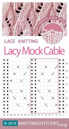 Most current Cost-Free knitting charts cable Popular Lacy Mock Cable Knitting Stitch Pattern. Lace Knitting Stitches, Lace Knitting Patterns, Cable Knitting, Knitting Charts, Free Knitting, Stitch Patterns, Knitting Yarn, Gilet Crochet, Knit Crochet