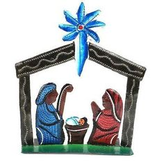 Standing Table Top Painted Nativity Handmade and Fair Trade. Hand-cut and embossed from steel drums by Haitian artisans, this hand-painted nativity is free standing. It measures 5 inches wide by 5 inches tall. Nativity Ornaments, Nativity Crafts, Holiday Ornaments, Holiday Decor, Felt Ornaments, Christmas Decorations, Nativity Stable, Nativity Sets, Standing Table