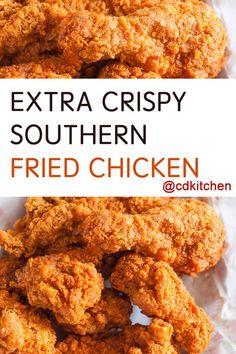 Made with canola or peanut oil, flour, chicken, eggs, milk, salt and pepper, garlic powder, seasoned salt | CDKitchen.com