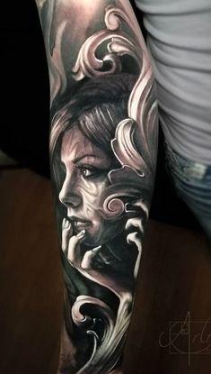 70 Tatuagens ultra realista para se inspirar - Fotos e Tatuagens Creepy Tattoos, Dope Tattoos, Body Art Tattoos, Tattoos For Guys, Best Sleeve Tattoos, Tattoo Sleeve Designs, Arlo Tattoo, Valkyrie Tattoo, Evolution Tattoo