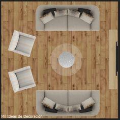 15 formas de distribuir los muebles en un salón cuadrado Color Naranja, Houses, Decoration Home, Shapes, Colors