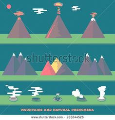 Set volcanoes, mountains and geysers erupting and quiet, for your wild nature design. Vector.